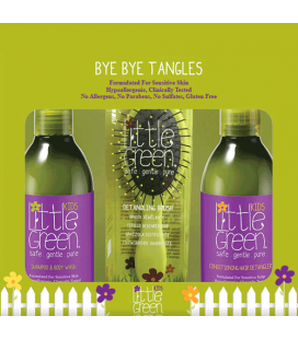 Little Green Cares Kids - Bye Bye Tangles Shampoo e detergente corpo, Balsamo, Spazzola districanti - Ipoallergenico