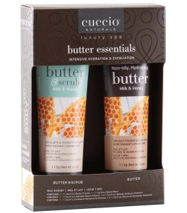 Cuccio Naturale Milk & Honey Essentials Gift Pack - Burro e Scrub Mani Piedi Corpo - Idratante e Esfoliante Intensivi