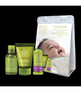 Little Green Cares Baby - Travel Set 0-3 anni Shampoo - detergente e lozione corpo, Balsamo Lenitivo - Ipoallergenico