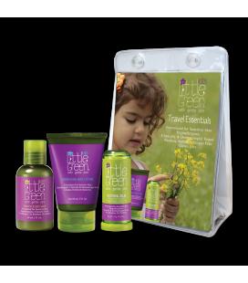 Little Green Cares Kids - Travel Set 4-12 anni Shampoo - detergente e lozione corpo, Balsamo Lenitivo - Ipoallergenico