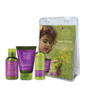 Little Green Cares Kids - Travel Set 4-12 anni Shampoo - detergente e lozione corpo, Balsamo Lenitivo - Ipoallergenico