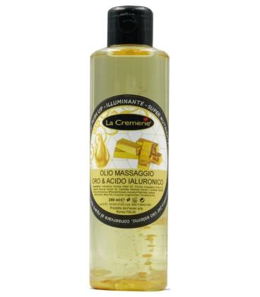 Olio Massaggio Oro e Acido Ialuronico, Effetto PushUp, Illuminante, Super Nutriente - La Cremerie - 200,0 ml