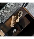 TEK - Kit da Borsetta: Spazzola Ovale Piccola Dente Corto e Pettine Naturali con Custodia in Cotone